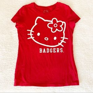 Wisconsin Badgers Hello Kitty Red T-Shirt Tee Top